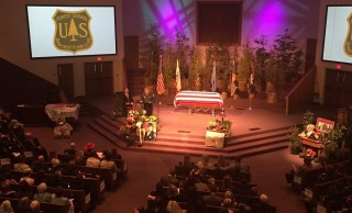 Hundreds of people attend memorial in Santa Maria for fallen firefighter